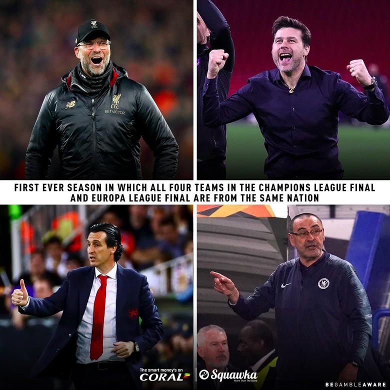 Pertama kali dalam sejarah, final Liga Champions dan Liga Europa akan diikuti oleh klub yang semuanya berasal dari satu negara. Foto:Twitter/Coral