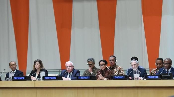 Foto: Menlu Retno di Forum PBB, menggalang penolakan terhadap permukiman Israel di Palestina. (Dok Kemlu)