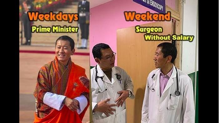 Perdana Menteri Bhutan Lotay Tshering menghabiskan akhir pekannya membantu operasi pasien. (Foto: Facebook)