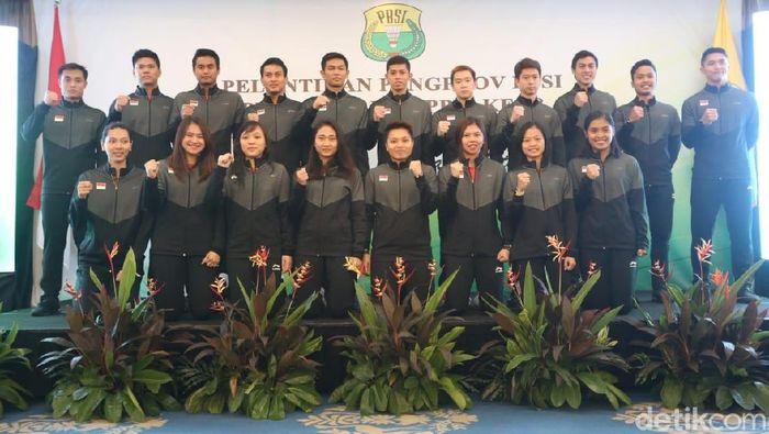 PBSI melepas secara resmi tim nasional bulutangkis ke Piala Sudirman 2019. (Agung Pambudhy/detikSport)