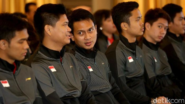 Pemain-pemain putra di Piala Sudirman 2019. (Agung Pambudhy/detikSport)