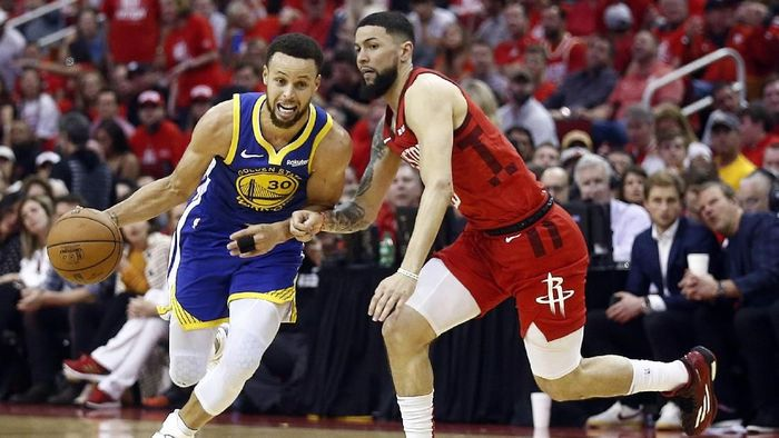 Golden State Warriors lolos ke final Wilayah Barat usai memenangi game 6 semifinal melawan Houston Rockets (Foto: Bob Levey/Getty Images)