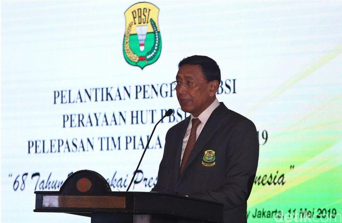 Ketua Umum Pengurus Pusat Persatuan Bulutangkis Seluruh Indonesia (PP PBSI) Wiranto hadir dalam acara HUT ke-68 PBSI sekaligus acara pelepasan skuat tim nasional untuk bertanding di Piala Sudirman 2019 di Hotel Century, Jakarta, Sabtu (11/5/2019).