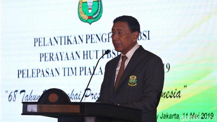 PP PBSI doakan Wiranto segera pulih usai ditusuk.  (Agung Pambudhy/detikSport)