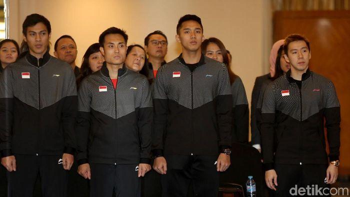 Timans ke Piala Sudirman 2019 menjalani kelas motivasi. (Agung Pambudhy/detikSport)