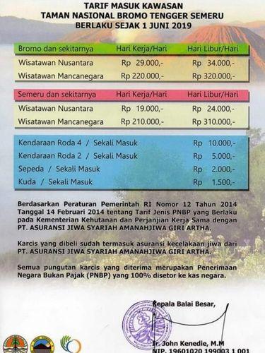 Tarif Baru Tiket Bromo dan Semeru Per 1 Juni 2019