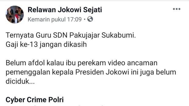 Screenshot postingan di Facebook soal perekam aksi ancaman penggal kepala Jokowi.