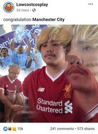 Ekspresi Nelangsa Cosplayer Kocak Pendukung Liverpool