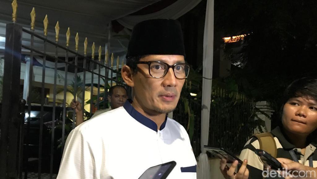 Lieus Ditangkap, Sandi: Satu Lagi Pendukung Prabowo Dikriminalkan
