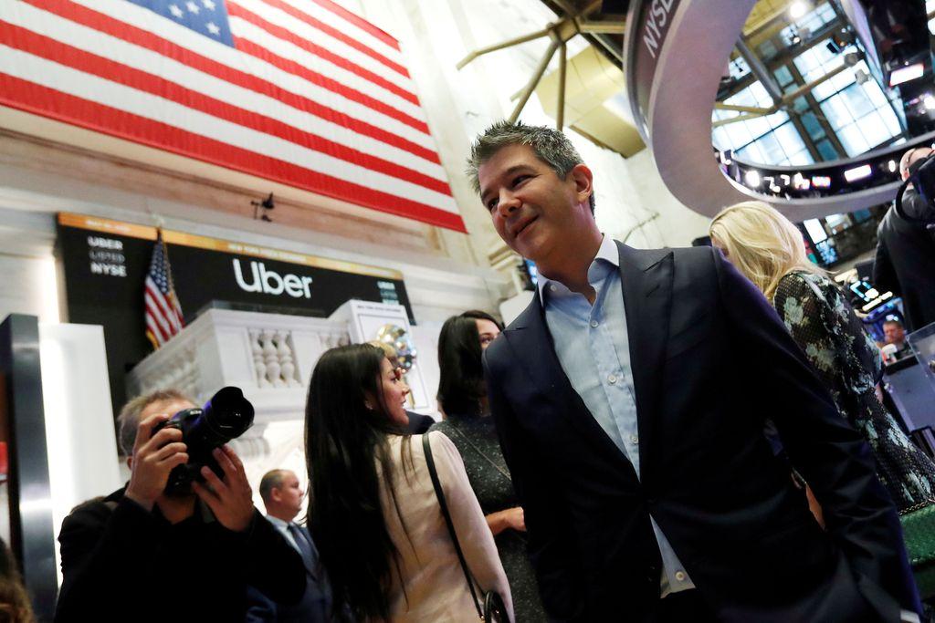 Travis Kalanick kala mendatangi bursa saham New York Stock Exchange menjelang Initial Public Offering atau IPO perusahaan yang dibesarkannya, Uber. Foto: Getty Images