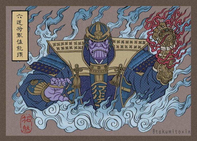 Banyak yang terpukau dengan unggahan seniman bernama Takumi yang membuat tokoh Avengers dengan gaya Ukiyo-e.Dok. Twitter/takumitoxin