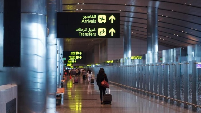 Doha, Qatar - January 5 2016: Hamad International Airport is the airport of Doha, the capital city of Qatar. In 2016, the airport was named the 50th busiest in the world by passenger traffic