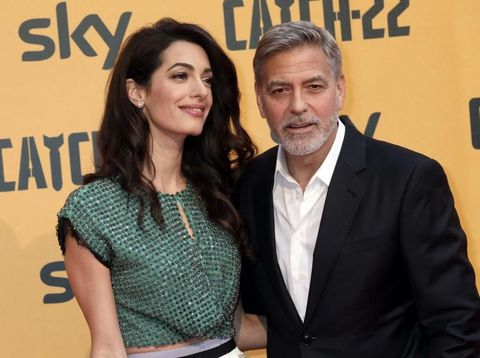 ROME, ITALY - MAY 13: Amal Alamuddin and George Clooney attend 'Catch-22' Photocall, a Sky production, at The Space Moderno Cinema on May 13, 2019 in Rome, Italy. (Photo by Elisabetta Villa/Getty Images)