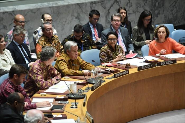 Sidang DK PBB yang dipimpin Menlu RI sebagai Presiden DK PBB, 7 Mei 2019