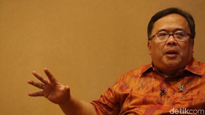 Kepala Badan Perencanaan Pembangunan Nasional Bambang Brodjonegorodi Jakarta, Jumat (10/5/2019). Agung Pambudhy/Detikcom.