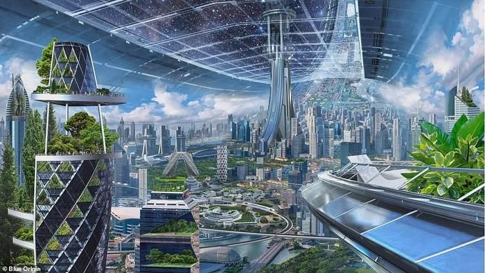 Imajinasi pemukiman luar angkasa ala Jeff Bezos. Foto: Blue Origin