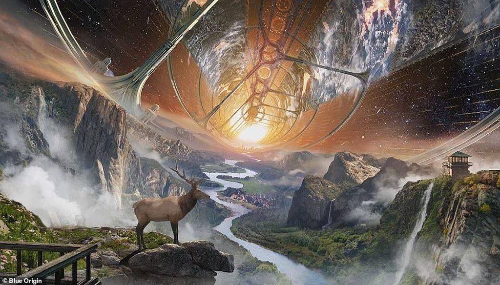 Ini adalah imajinasi Blue Origin, perusahaan luar angkasa milk Jeff Bezos, yang berambisi suatu saat nanti akan membuat pemukiman manusia di luar angkasa. Menurut Bezos, pindah ke luar angkasa adalah solusi mudah jika Bumi sudah kekurangan sumber daya untuk mendukung manusia. Foto: NASA