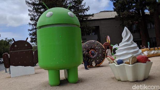 Patung OS Android di markas Google, Mountain View, AS.