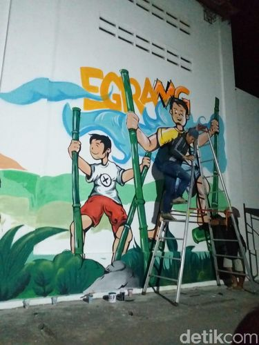 Mural egrang di Kediri/