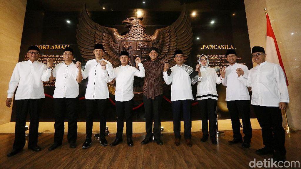 Potret Saf AHY dan 8 Kepala Daerah di Silaturahmi Bogor