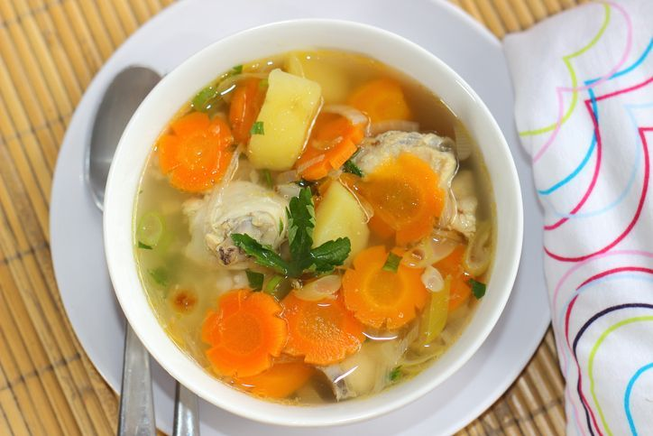 sayur sop or vegetable with chicken soup indonesian culinary