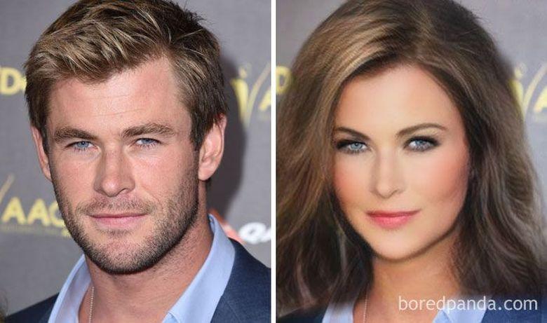 Para bintang Avengers dibuat merasakan filter yang tengah hits yakni Gender Swap.Dok. Bored Panda