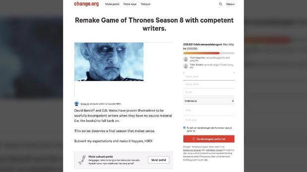 Penggemar menerbitkan petisi untuk 'Game of Thrones.'