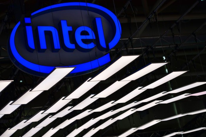 HANOVER, GERMANY - JUNE 12: The Intel logo is displayed at the Intel stand at the 2018 CeBIT technology trade fair on June 12, 2018 in Hanover, Germany. The 2018 CeBIT is running from June 11-15. (Photo by Alexander Koerner/Getty Images)