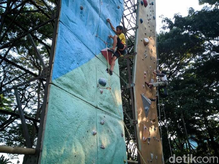 Atlet panjat dinding sedang berlatih/Foto: Charolin Pebrianti