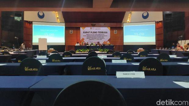 Saksi Paslon dan Parpol Belum Hadir, Rapat Pleno KPU DKI Jakarta Diskors