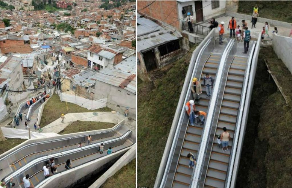 Eskalator di pemukiman kumuh di Medellin, Kolombia. Tangga berjalan ini dibangun pada 2011. Kehadirannya menolong warga di sana berjalan. Sebelumnya, warga pemukiman ini terpaksa menaiki ratusan anak tangga untuk bolak-balik gedung rumah susun setinggi 28 lantai. Foto: via Brainberries