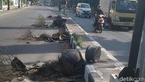 Pria Bertangan Jahil Hancurkan 4 Pot Bunga Besar di Jalanan Situbondo