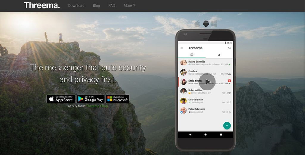 2. Threema. Aplikasi besutan perusahaan Swiss ini juga mulai mencuri perhatian sebagai salah satu alternatif WhatsApp pada multi platform. Privasi dan keamanan menjadi salah satu aspek kunci yang ditawarkan. (Foto: threema.ch/en)