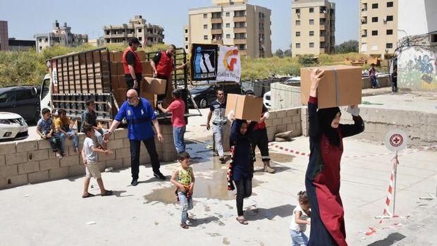 Indonesia memberikan sumbangan kemanusiaan kepada pengungsi Suriah yang berada di Saida, Lebanon Selatan.