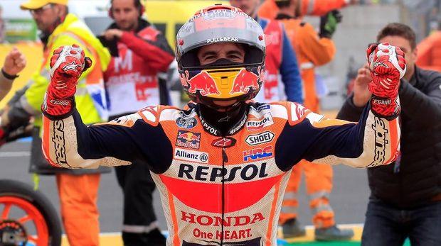 Marc Marquez merayakan kemenangan di MotoGP Prancis 2019.