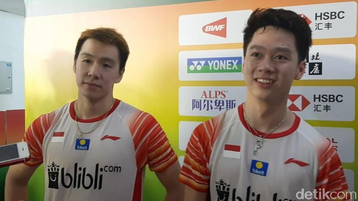 Pasangan ganda putra, Kevin Sanjaya Sukamuljo/Marcus Fernaldi Gideon. (Foto: Novita Dewi Salusi/detikcom)