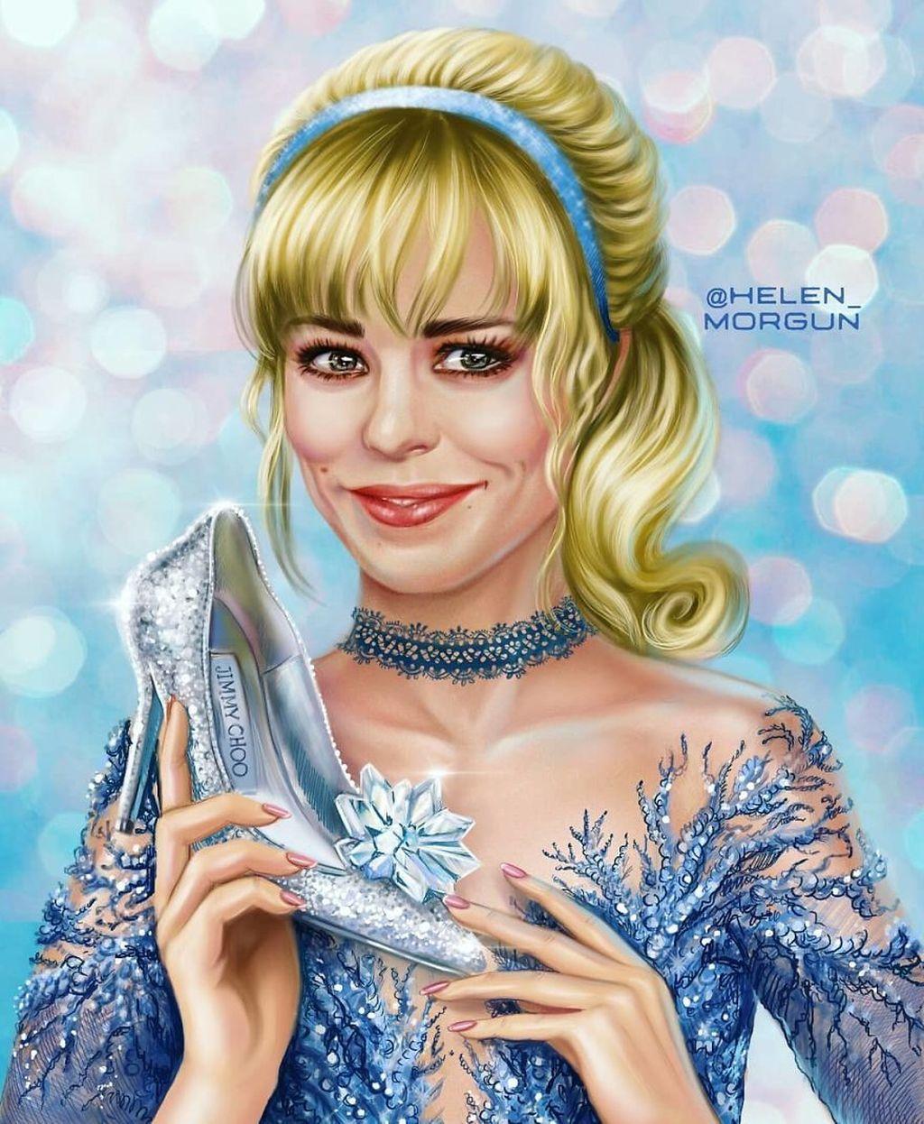 Yang ini salah satu karyanya dalam mengubah Rachel Mcadams jadi Cinderella. (Foto: Dok @helen_morgun)
