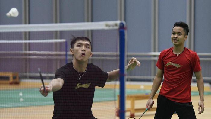 Indonesia berlatih jelang duel kontra Denmark (ANTARA FOTO/Wahyu Putro A)