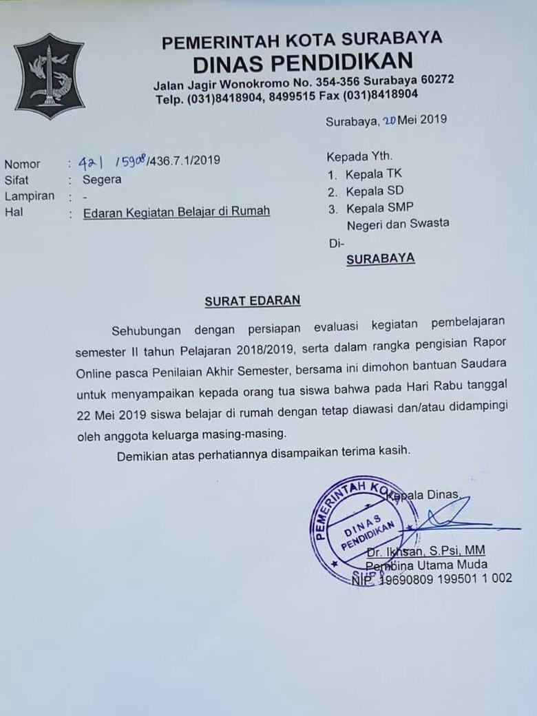 Alasan Kondisi Politik 22 Mei Sekolah Di Surabaya Diliburkan