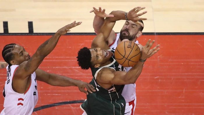 Toronto Raptors mengalahkan Milwaukee Bucks di gim ketiga Final Wilayah Timur NBA, (Foto: Tom Szczerbowski-USA TODAY Sports)
