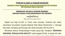 Ulama Madura Ancam Tutup Suramadu Jika Dihadang Berangkat ke Jakarta
