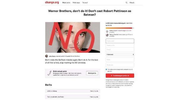 Fan petisi pemilihan Robert Pattinson sebagai Batman.