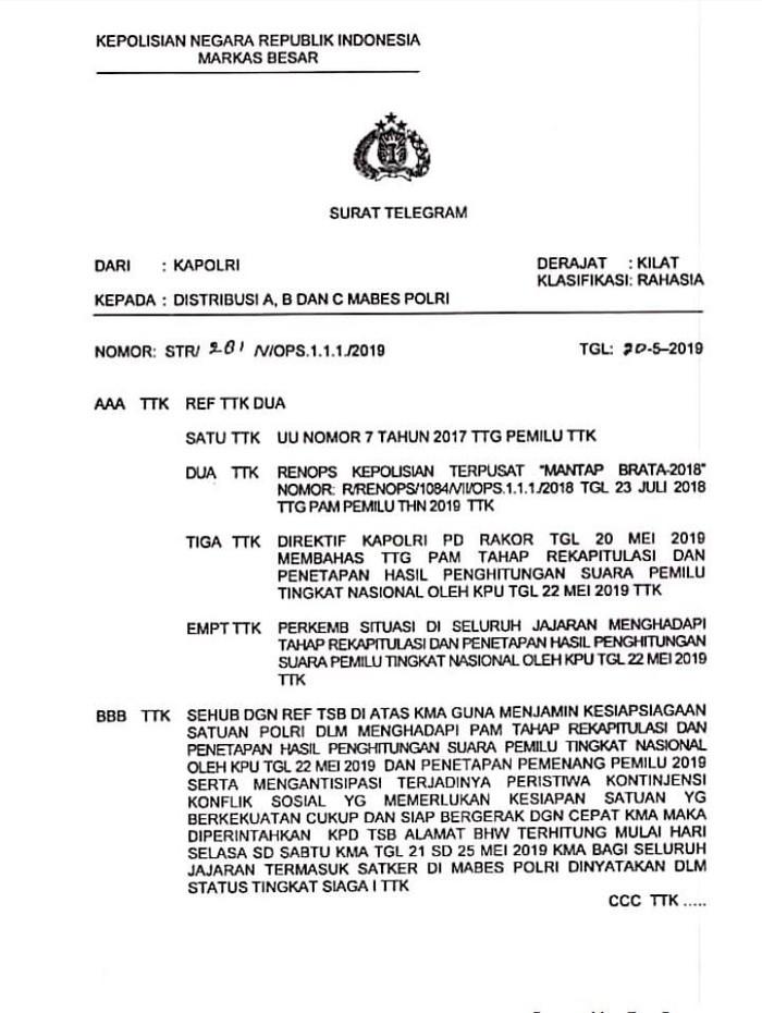 Surat informasi Polri Siaga 1 (Foto: Istimewa)
