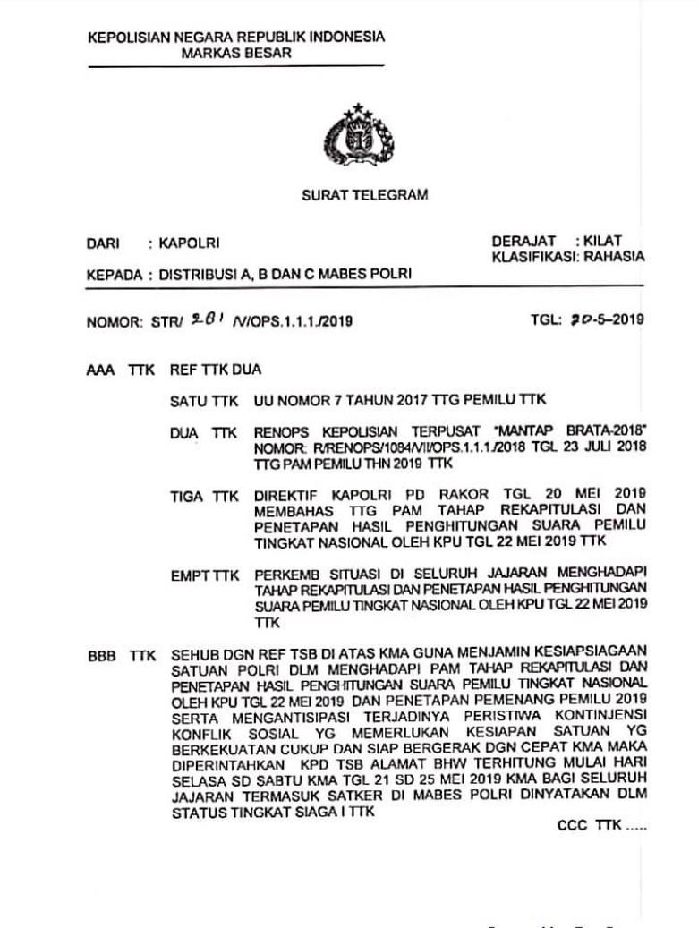 Kawal Rekapitulasi Pemilu, Polri Siaga 1 pada 21-25 Mei 2019
