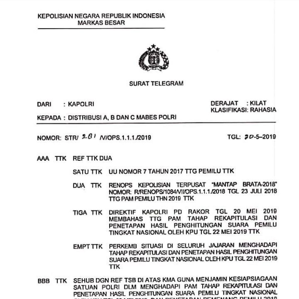 Kawal Rekapitulasi Pemilu, Polri Siaga 1 dari 21-25 Mei 2019