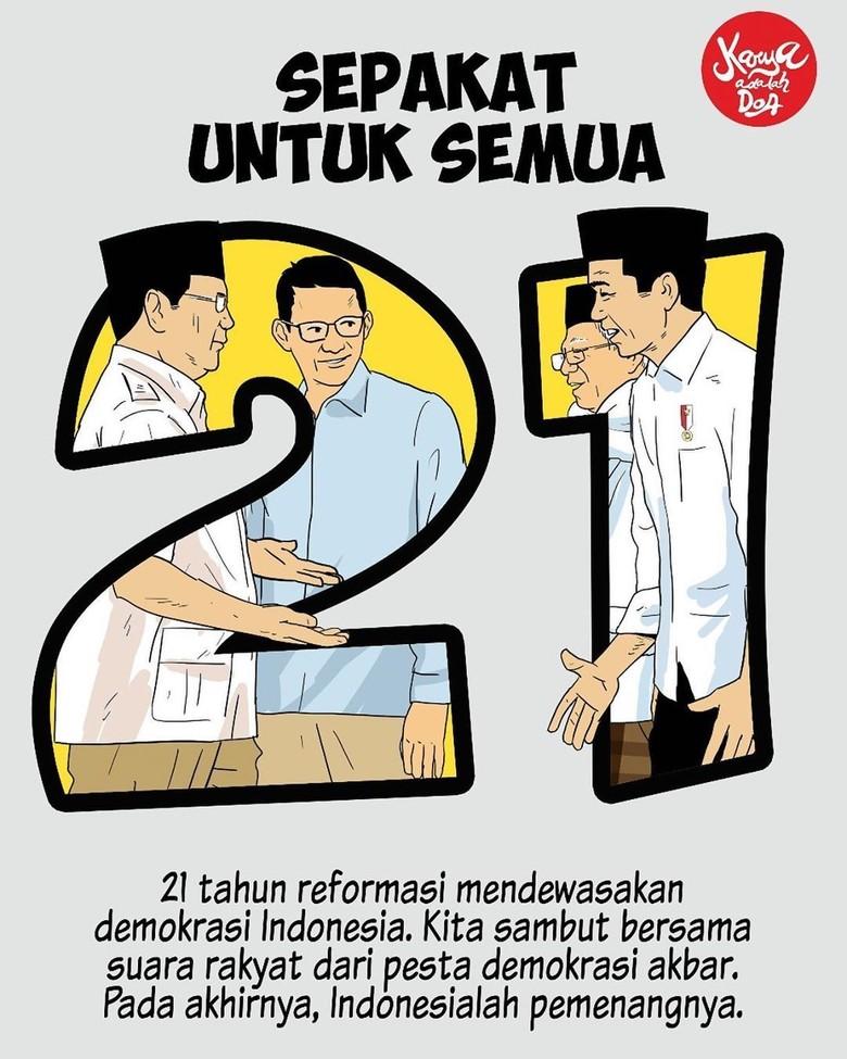 Jokowi Unggul Ketimbang Prabowo, Ilustrasi Ini Ajak Publik Sepakat untuk Semua Foto: Istimewa