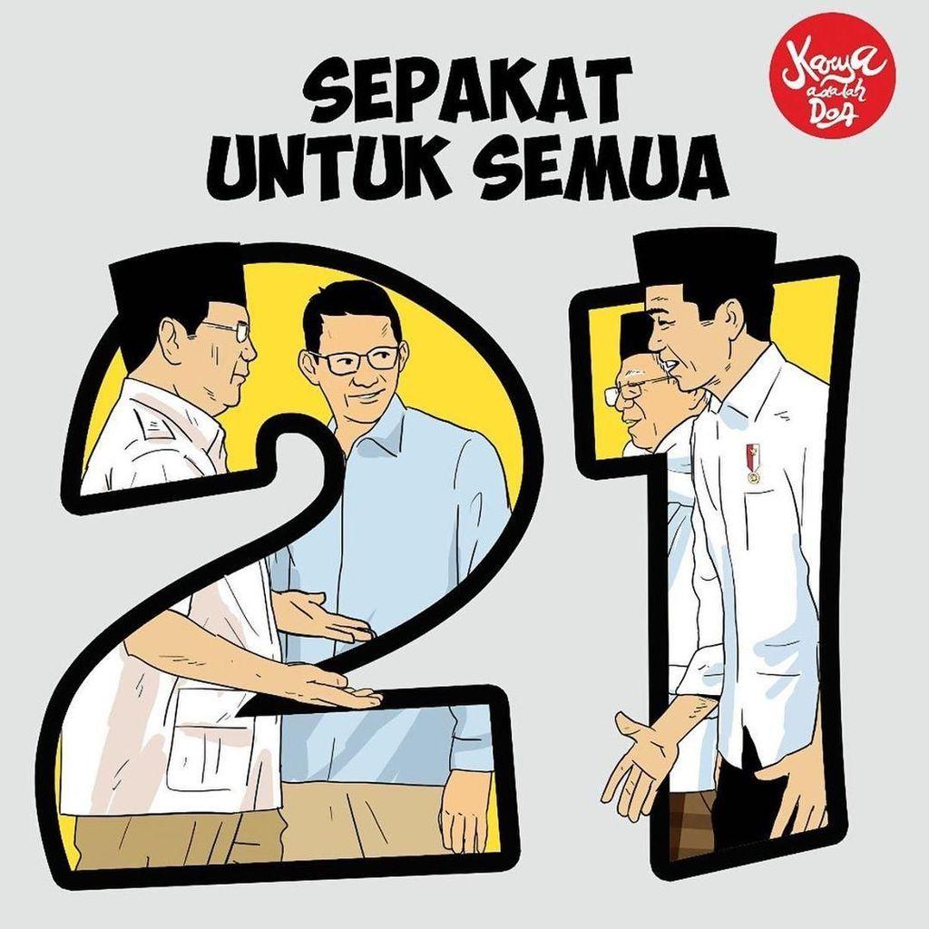 Jokowi Ungguli Prabowo, Ilustrasi Ini Ajak Publik Sepakat untuk Semua