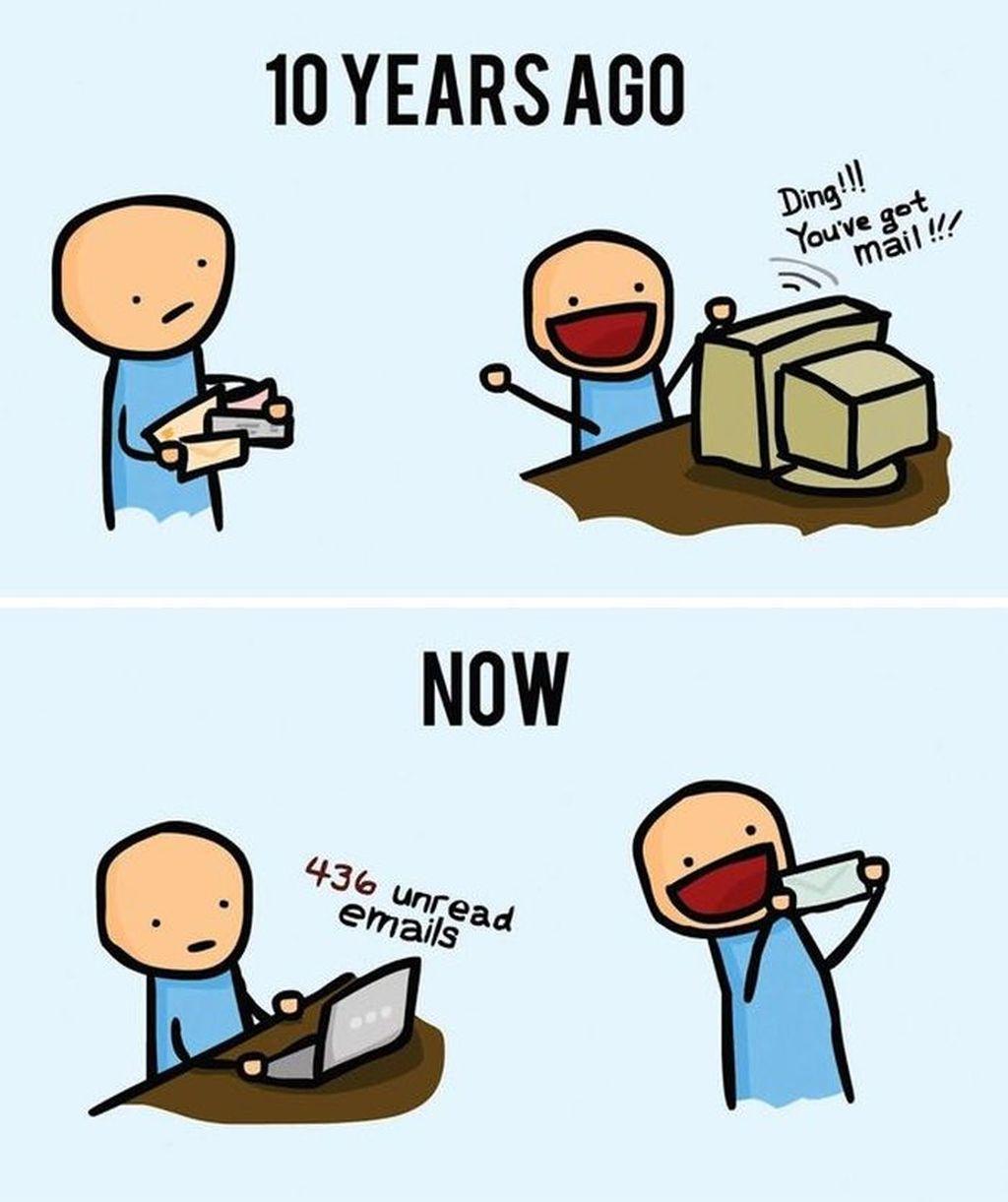 Kebalikan ekspresi dulu dan sekarang ketika mendapatkan sebuah email dan kiriman surat. (Foto: justsomethingcreative)