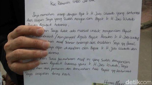 Surat Hermawan yang ditujukan kepada Jokowi