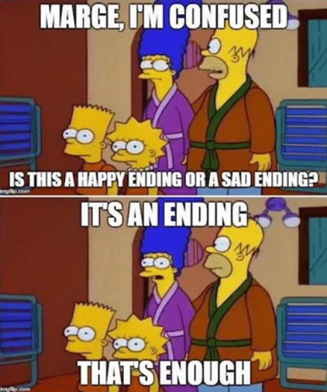 Tak puas dengan musim ke-8 Game of Thrones? Kata Marge Simpson, yang penting ada endingnya. (Foto: Boredpanda.com)